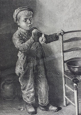 BOY BLOWING BUBBLES - BEAUTIFUL ORIGINAL 19th CENTURY ENGRAVING c.1871