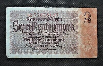 Old Bank Note Of Nazi Germany 2 Rentenmark 1937 Third Reich G77875107