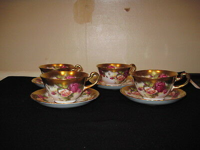 Royal Chelsea GOLDEN ROSE Tea Cups and Saucers Set of 4 Fine Bone China England