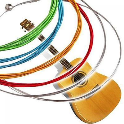 6pcs Stainless Steel Rainbow Tunes Stable Colorful Acoustic Guitar Strings