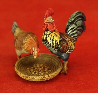 Vintage Vienna Bronze Cold Painted - Roosters Chicken at Dish - Signed FB