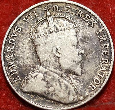 1909 Broad Leaves Canada 10 Cents Silver Foreign Coin Free S/H