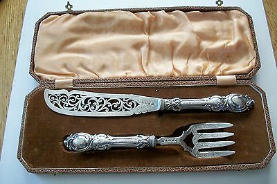 Antique Boxed Wedding Gift J.g. Silverplate Cake Knife And Fork Set