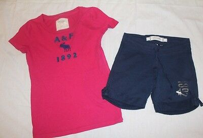 GIRLs 12 14 ABERCROMBIE shorts t-shirt top set outfit pink summer
