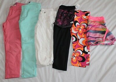 GIRLs 14 OLD NAVY JUSTICE TCP capri's 6 pc lot summer white coral leggings