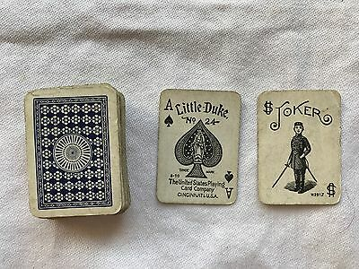 ANTIQUE EDWARDIAN PACK of MINIATURE FULL DECK PLAYING CARDS - LITTLE DUKE 1920