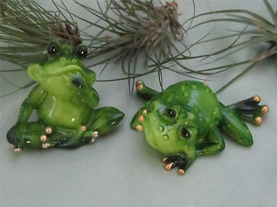 2 Green Lucky Frogs Relaxing Whimsical Frog Garden Free Shipping
