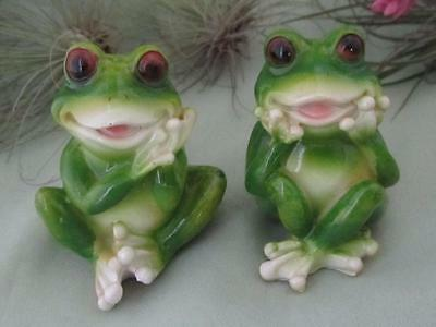 2 Happy Smiling Green Lucky Frogs Fairy Garden Frog Sculpture Free Shipping