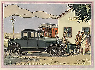 1929 Original FORD Motor CAR Two-Page COLOR AD. Fordor Sedan, Sport Coupe, Coupe