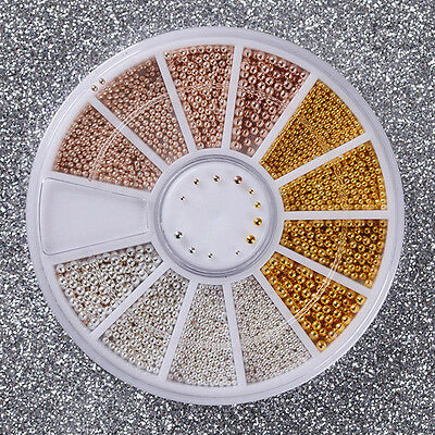 3D Micro Beads Nail Art Rhinestones Caviar Tips Decoration Manicure DIY Wheel