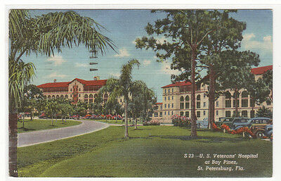 US Veterans Hospital Bay Pines St Petersburg Florida linen postcard