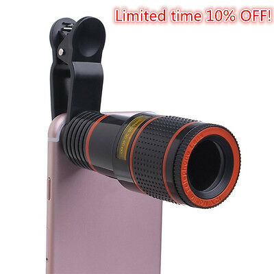 Clip-on 12x Optical Zoom HD Telescope Camera Lens For Universal Mobile Phone US