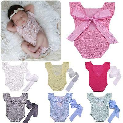 Newborn Baby Girl Lace Romper Jumper Photography Props Bow Back Jumpsuit - CB