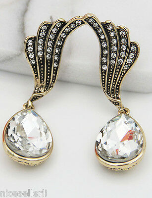 BOHO Fashion White Crystal Ear Drop Dangle Stud long Ancient Silver Earrings 276