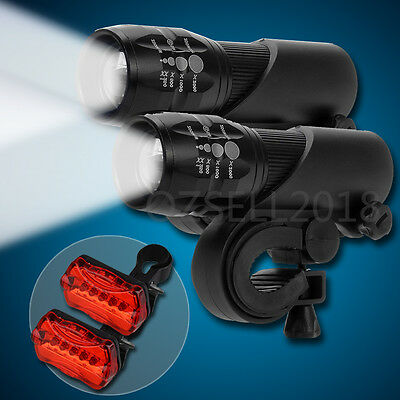 2x Cree Q5 LED Zoomable Bike Cycling Head +Rear Light Front Flashlight Torch SET