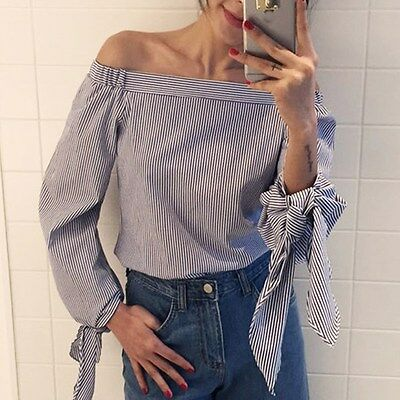 Womens Ladies Off Shoulder Striped Long Sleeve Swing Top Blouse Casual Shirt