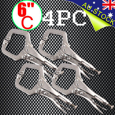 AU 4pcs Heavy Duty Steel 6'' C - Clamps Mig Welding Locking Plier Vice Grip New