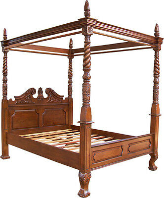 Mahogany Queen Anne Style 4 Poster 5' King Size Canopy Bed New
