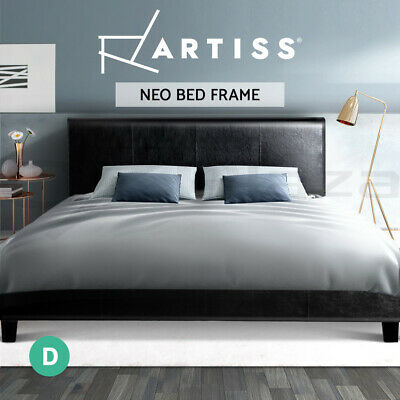DOUBLE Size Bed Frame NEO PU Leather Headboard Wooden Mattress Base Black