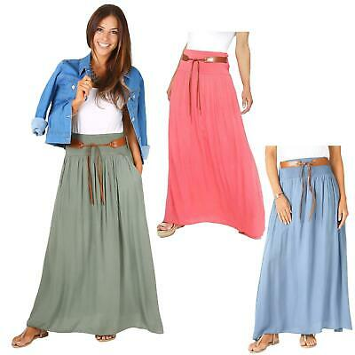Womens Casual Boho Hippie Belted Light Cotton Pleated Summer Long Maxi Skirt US