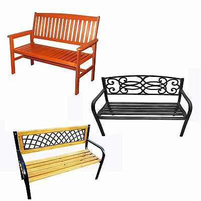 Garden Bench 2-3 Seater Wooden Metal Legs Outdoor Home Patio Furniture Lattice