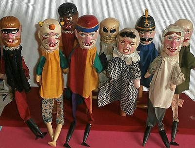 HAND CARVED Antic Wooden PUNCH &JUDY Puppet COMPLET SET Germany RARE CRYING BABY