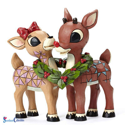 Jim Shore 4053069 Rudolph Red Noise Reindeer and Clarice w/Wreath