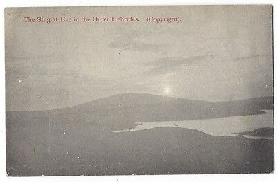 The Stag at Eve in the Outer Hebrides, Early Undivided Back Postcard Unused
