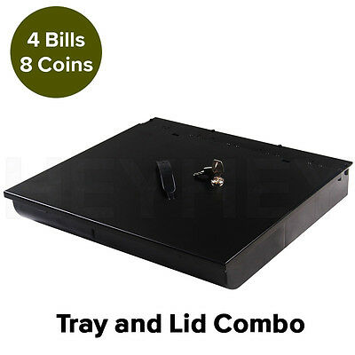 Brand New 4 Bills 8 Coins Spare Cash Tray Black & Lockable Lid Cover
