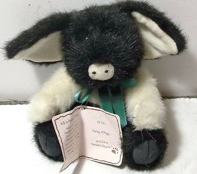 """Boyds Collection Black And White Stuffed Pig """"farley O'pig"""""""