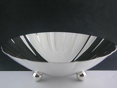 """Sterling TIFFANY & CO 6"""" footed Candy Dish / Bowl Modernist fluted design MINT"""