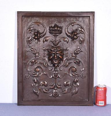 Antique French Panel in Solid Walnut Wood with Heart and Satyr/Griffin Face