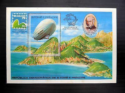 St THOMAS & PRINCE ISLANDS Wholesale 1978 Rowland Hill Zeppelin M/Sht x50 NB829