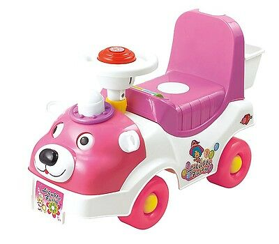 Girls 1St Ride On Car Pink White Teddy Bear Push Along Toddler Infant Toy Xr0635