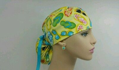 Ponytail Scrub Hat-Handmade, Medical, Multi-Color, One Size/Beach Sandals