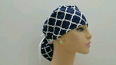 Ponytail Scrub Hat - White Chevrons -Handmade, Medical, Multi-Color, One Size,