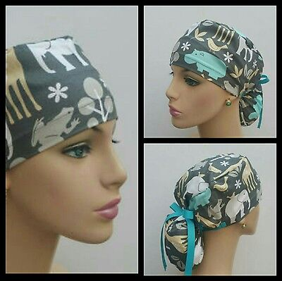 Ponytail Scrub Hat -Handmade, Medical, Multi-Color, One Size,