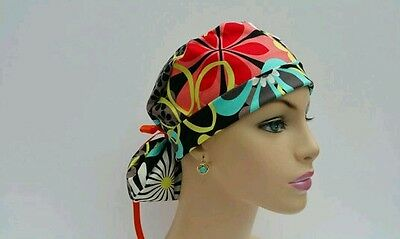 Turn Up Ponytail Medical Scrub Cap-One size -Handmade- Bright and Bold