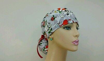 Ponytail Scrub Hat/Tatoos/Skull/Roses -Handmade, Medical, Multi-Color, One Size,