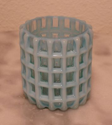 Beatty Honeycomb Blue Opalescent Toothpick Holder