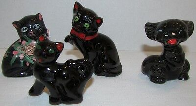 1950s Black Cat Figurines, lot of 4, Japan, Redware