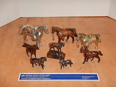 Lot Of 8 Vintage Carnival Prize Horse Cast Copper Tone / Silver Metal