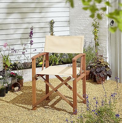 NEW Kingsbury Eucalyptus Wood & Fabric Folding Director's Chair - Cream