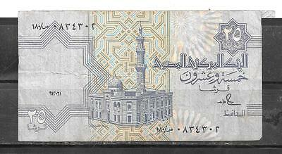 EGYPT #57b 1991 VG CIRC 25 PIASTRES BANKNOTE PAPER MONEY CURRENCY BILL NOTE