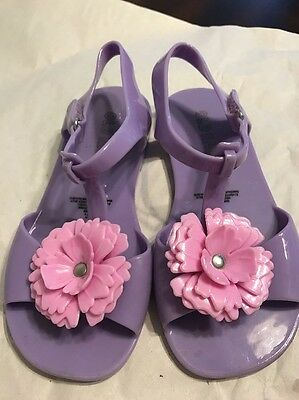 Old Navy Kids Toddler Girls Floral Purple Jelly Sandals Shoes Size 11