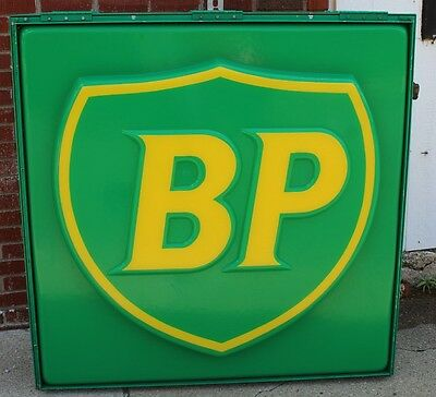 """Vintage BP Oil 49 X 49 X 11"""" Two Sided Airport Fuel Lighted Sign"""