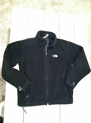 Boys The North Face Heavy Fleece Jacket - Full Zip - Black - Size M -EXCELLENT