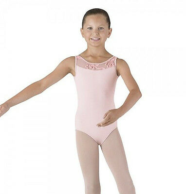 NWT Bloch Dance Candy Pink Tank Leotard Mesh Front & Back Med Child 8-10 CL4095