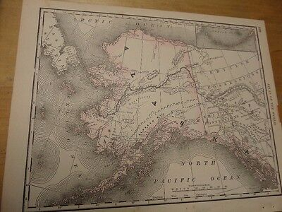 1889 Map of the Alaska with Utah, Colorado, Arizona and New Mexico on the back