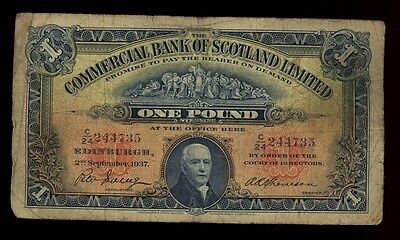 1937 Commercial Bank of Scotland One Pound Banknote - Pick#S331 - VG